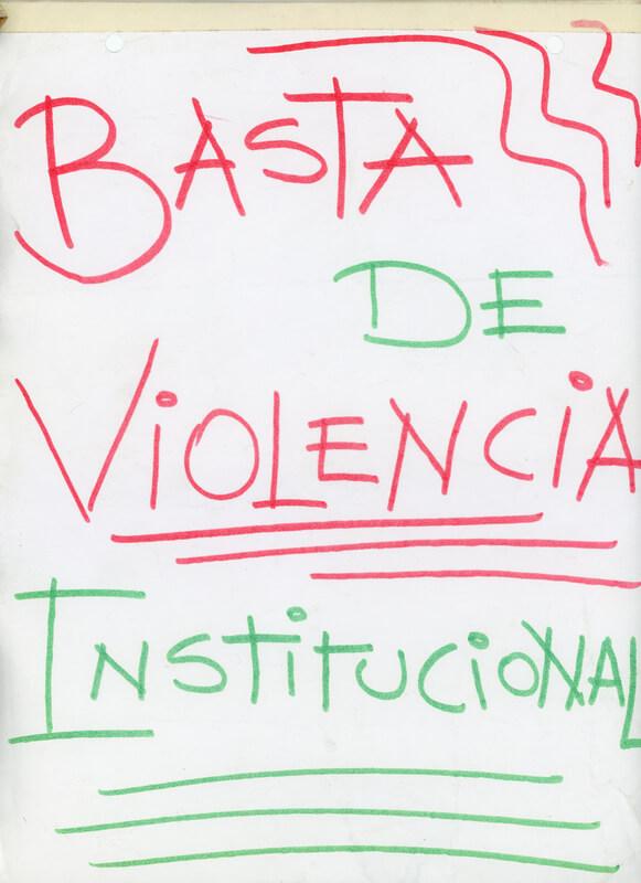 Dibujo basta de violencia institucional