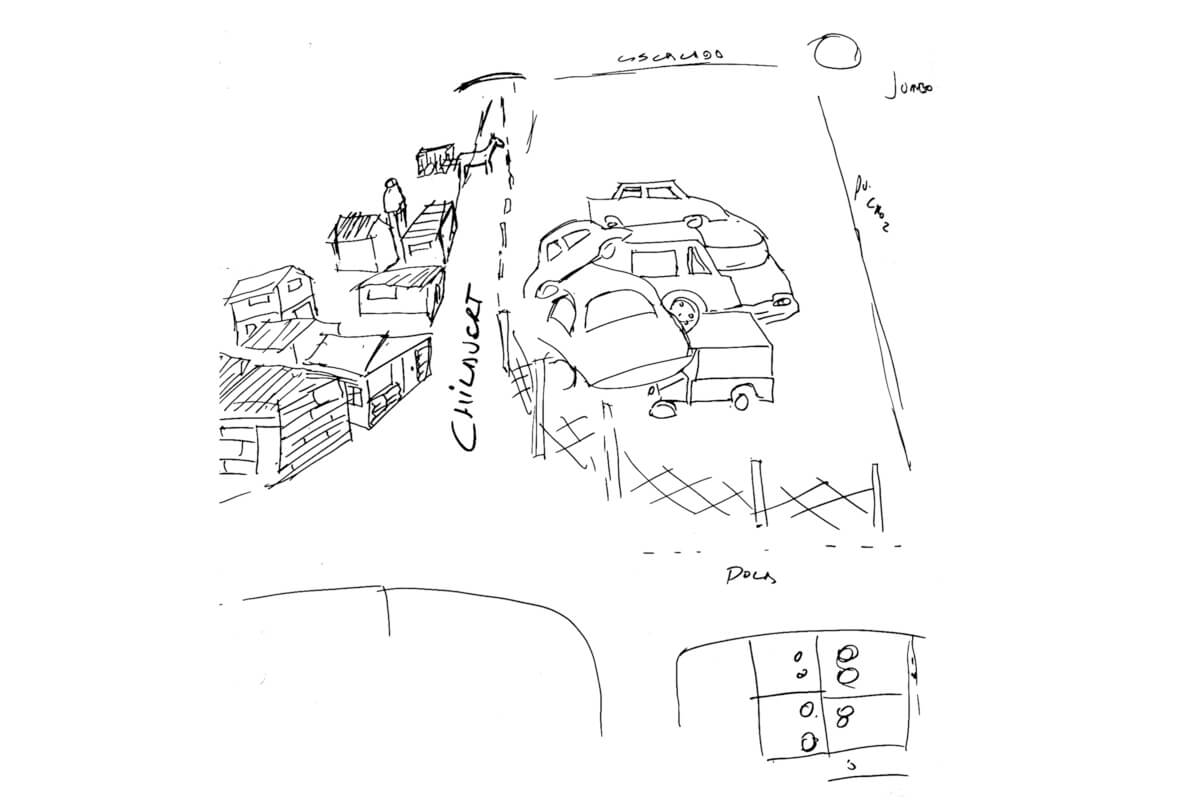 Croquis del cementerio de autos, dibujado por Walter Ramírez (imagen)