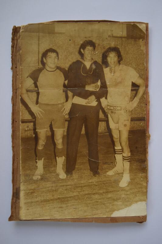 Cunini con Monzón y su sparring, vecino de Lugano
