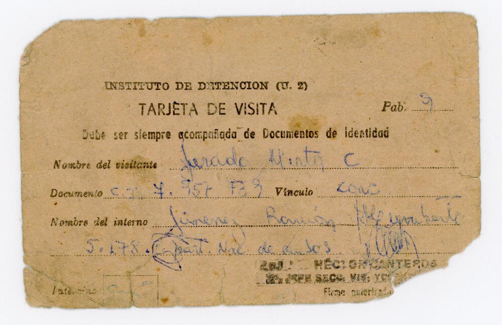 Tarjeta de visita Instituto de detención unidad 2 Devoto (frente)