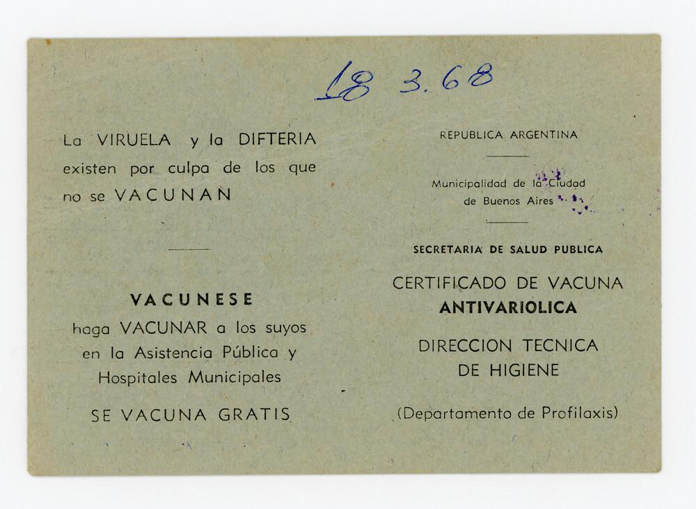 Certificado de vacunación antivariólica (dorso)