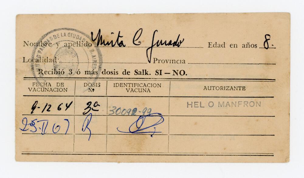 Certificado de vacunación antipoliomielítica (frente)