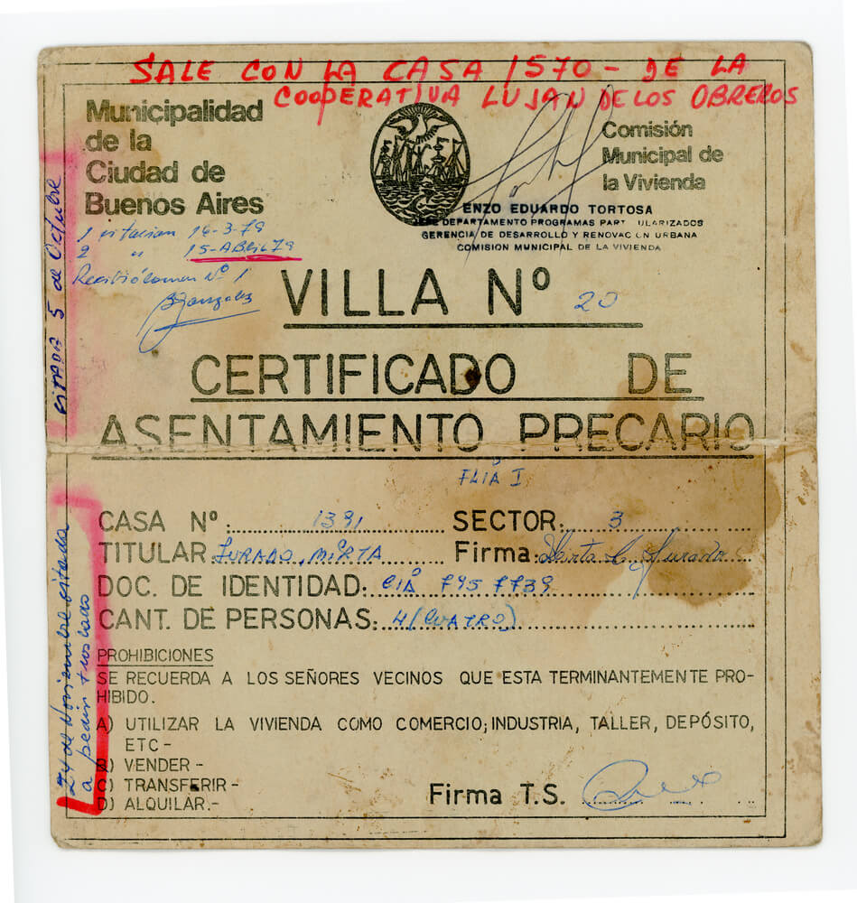 Certificado de asentamiento precario. Familia Jurado (frente)