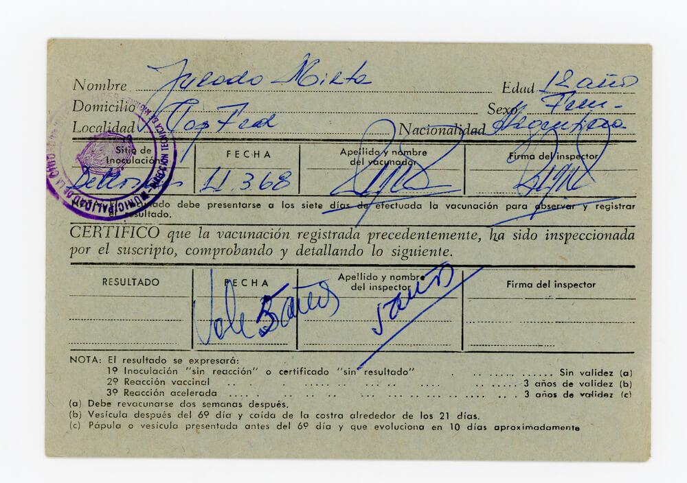 Certificado de vacunación antivariólica (frente)