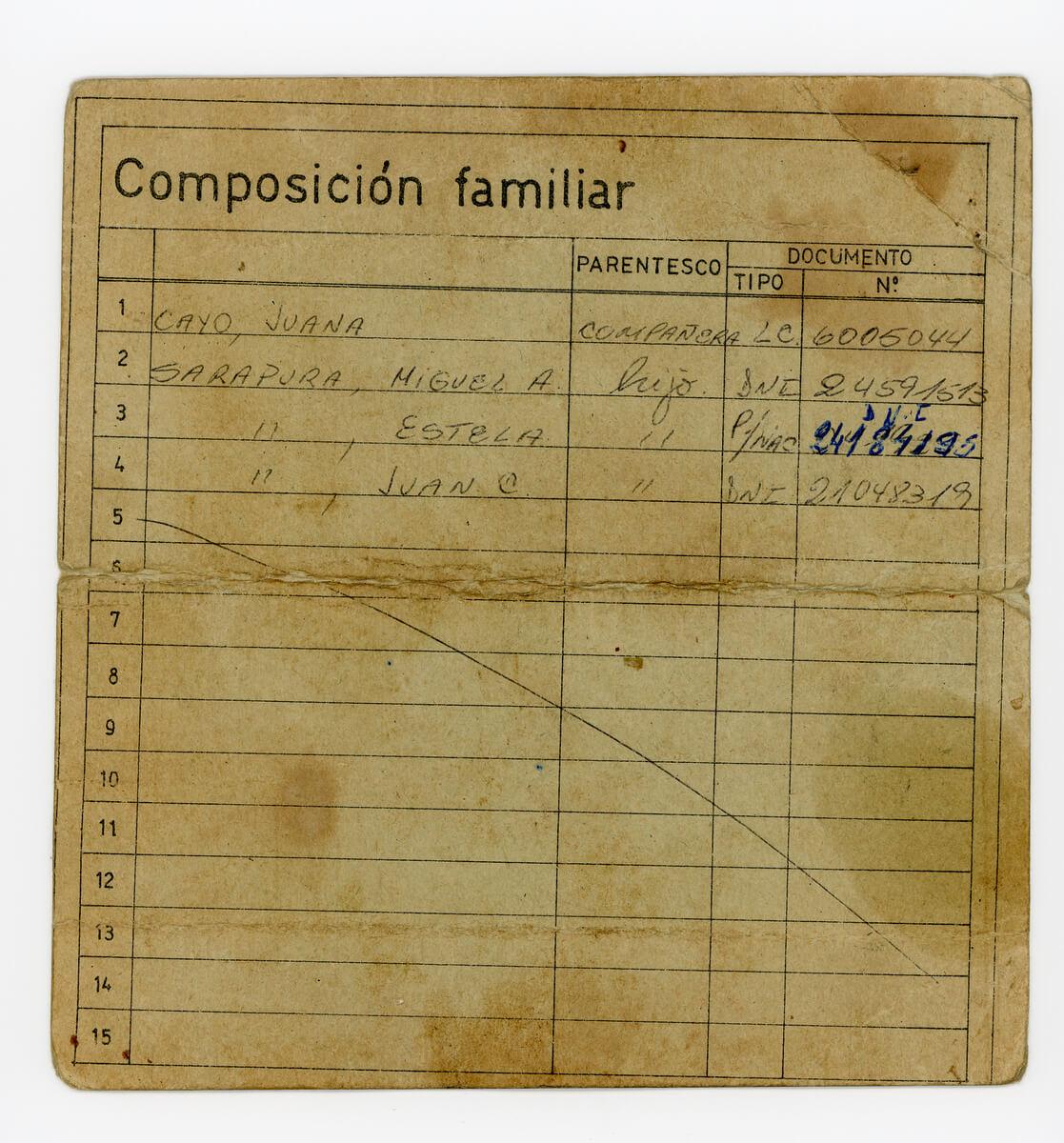 Certificado de asentamiento precario. Familia Sarapura (Dorso)